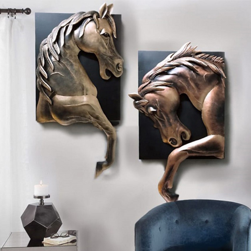 Antique Brown Metal Horse Wall Hanging Art