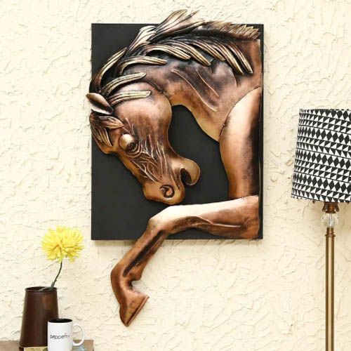 Brown Metal Horse Wall Hanging Art