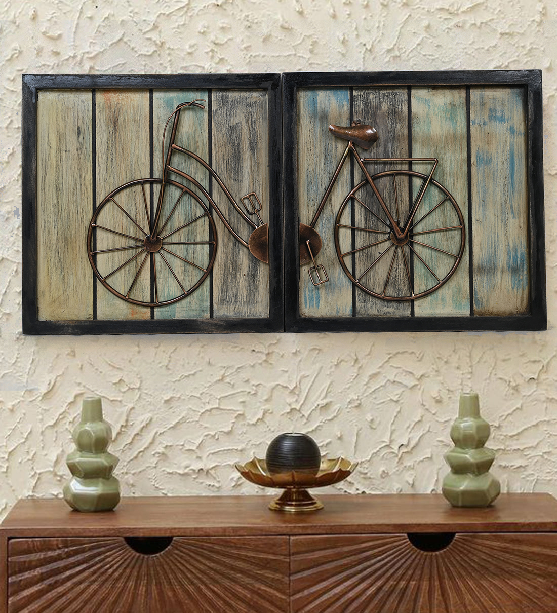 Double Frame Metal Cycle Panel for Wall Art decor