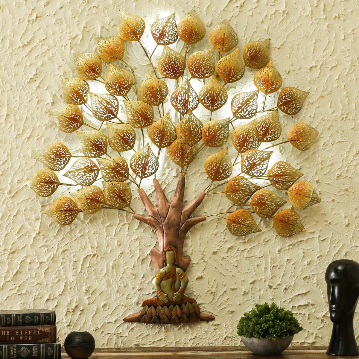 Gold Metal Buddha Tree With Led Wall Art