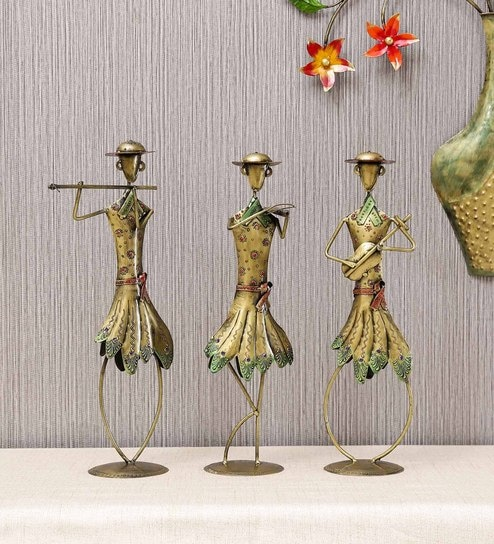 multicolor iron standing musicians golden figurine by craftpreneurs india multicolor iron standing m