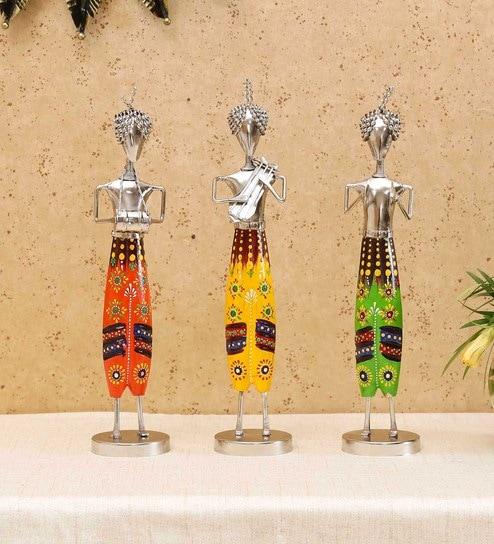 multicolor iron wood standing musician figurine by craftpreneurs india multicolor iron wood standing trlsdm