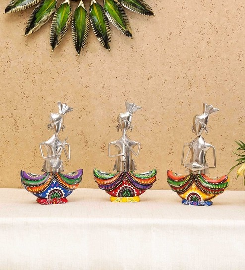 multicolor iron wooden sitting musicians with stand s 3 figurine by craftpreneurs india multicolor i