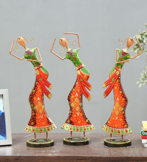 multicolor wrought iron human figurine set of 3 by godeccor multicolor wrought iron human figurine s 0vrzgu