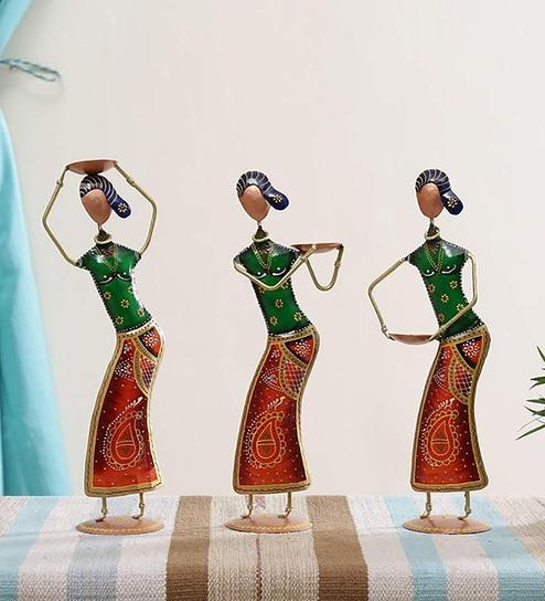 multicolour iron lady working poses set of 3 figurine by craftpreneurs india multicolour iron lady w e0onyq