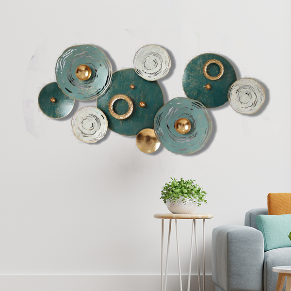Shades of Green Seashells Metal Wall Art Panel